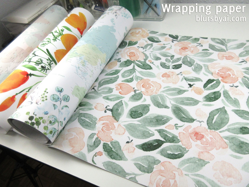 wrapping paper by blursbyai world map and watercolor floral patterns (7)