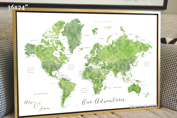 36x24 framed canvas worldmap print by blursbyai gold floating frame