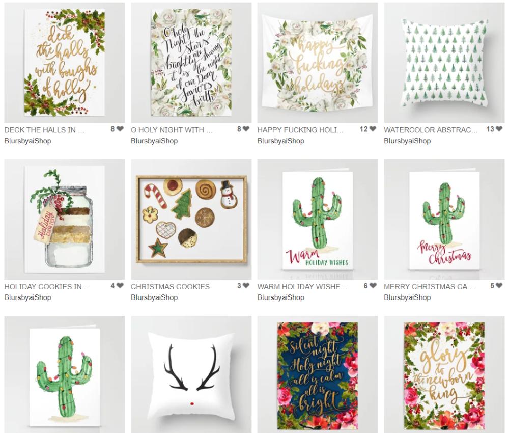 blursbyai christmas 2018 bohemian illustrations cacti.png
