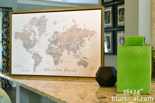 neutral watercolor framed push pin map world map gold floating frame by blursbyai_