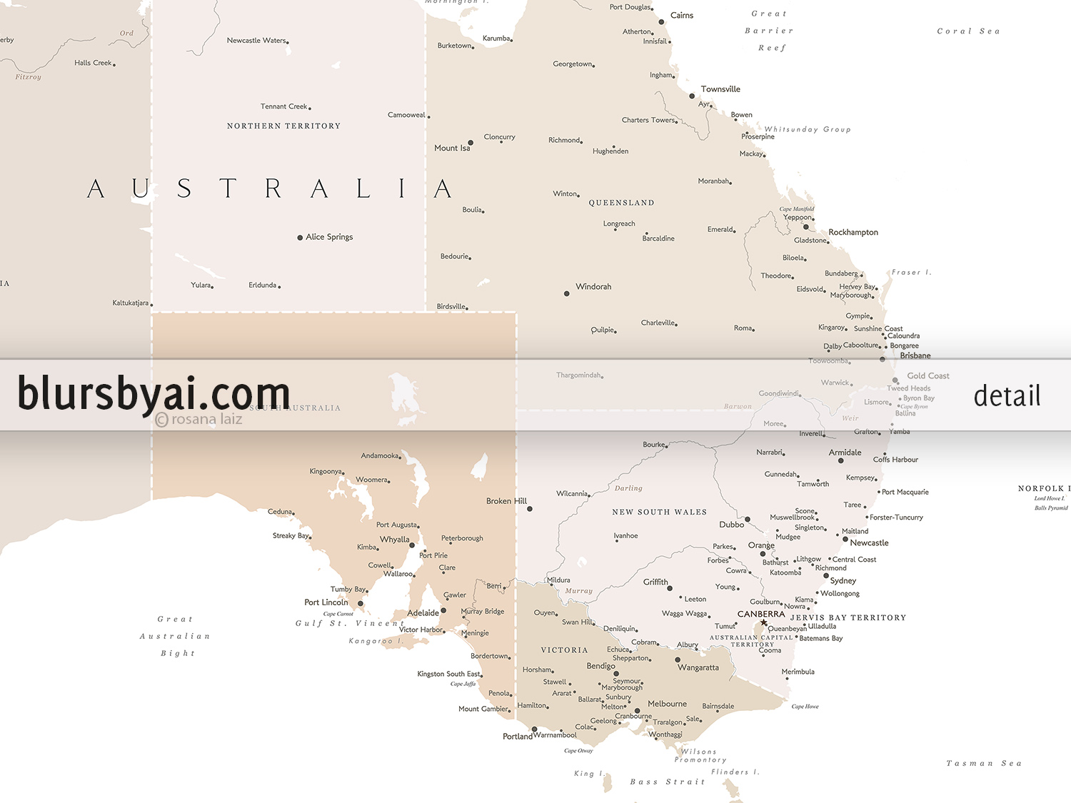 Printable Map Australia.Printable Map Of Australia With Cities In Cream And Light Brown By