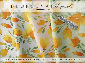 blursbyai watercolor california poppies patterns large seamless (3)