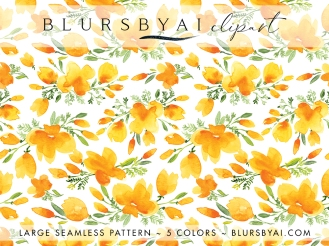 blursbyai watercolor california poppies patterns large seamless (4)