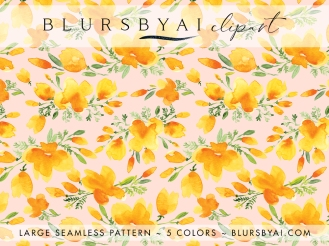 blursbyai watercolor california poppies patterns large seamless (7)