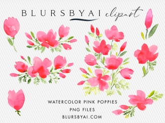 BLURSBYAI watercolor pink poppies clipart loose watercolor commercial license (1)