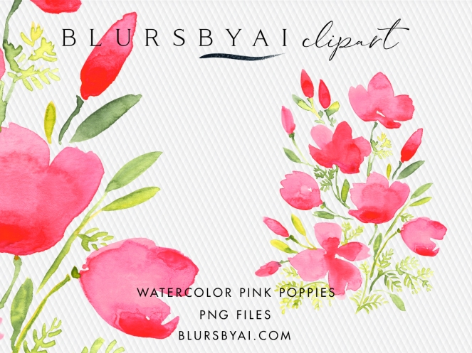 BLURSBYAI watercolor pink poppies clipart loose watercolor commercial license (2)