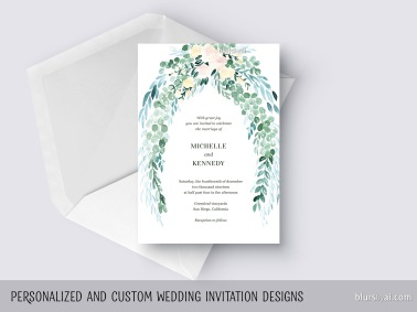 cascading eucalyptus custom wedding invitation watercolor by blursbyai