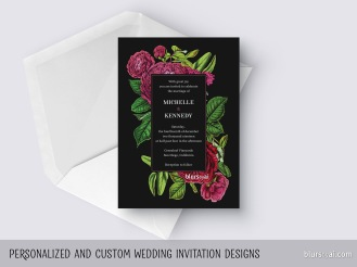 custom designed vintage looking wedding invitation by blursbyai