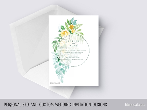 custom designed wedding invitation floral watercolor by blursbyai