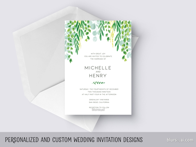 custom designed wedding invitation hanging watercolor greenery by blursbyai