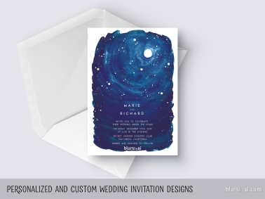 custom designed wedding invitation night watercolor sky with stars and full moon by blursbyai