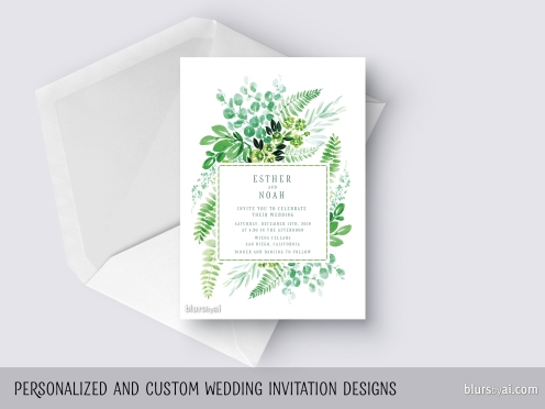 custom designed wedding invitation watercolor greenery ferns eucalyptus laurels by blursbyai