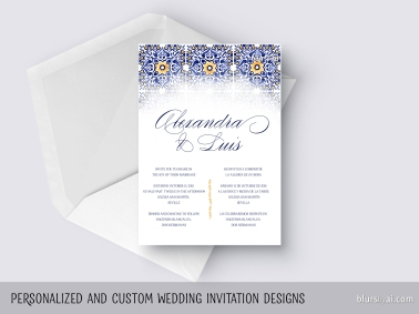 custom designed wedding invitation watercolor tiles mosaic ceramic by blursbyai