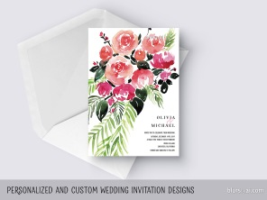 custom designed wedding invitation watercolor tropical loose bouquet by blursbyai