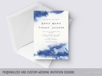 custom designed wedding invitation watercolor washes by blursbyai