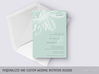 custom designed wedding invitation with vintage floral engraving by blursbyai
