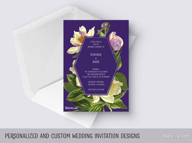 custom designed wedding invitation with vintage floral engravings by blursbyai