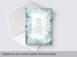 custom designed winter frosty wedding invitation by blursbyai