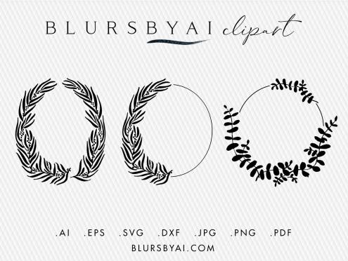 svg eucalyptus wreaths bohemian style eucalyptus silhouette clipart by blursbyai (2)