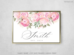family name and est date floral watercolor sign canvas print ranunculus (1)