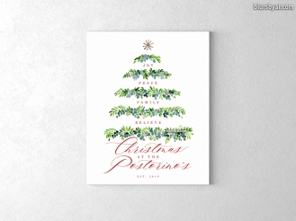 personalized holiday christmas sign on canvas greenery tree family name est date (2)