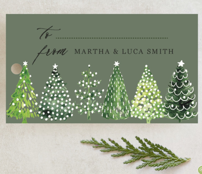 decorated christmas tree matching gift tags and stickers (2)