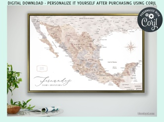 instant download personalized map of mexico in watercolor by blursbyai