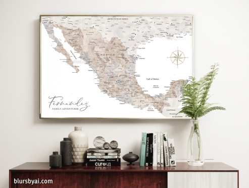 map of mexico in watercolor art print by blursbyai (2)