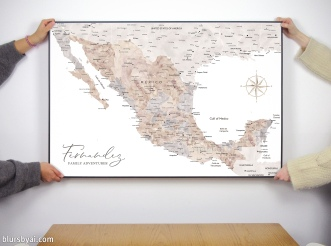 map of mexico in watercolor art print by blursbyai