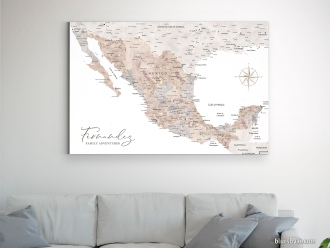 map of mexico in watercolor push pin map canvas by blursbyai (1)