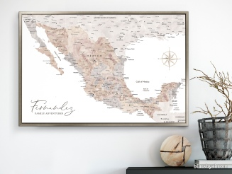 map of mexico in watercolor push pin map canvas by blursbyai (4)