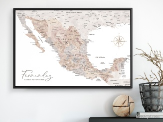 map of mexico in watercolor push pin map canvas by blursbyai (5)