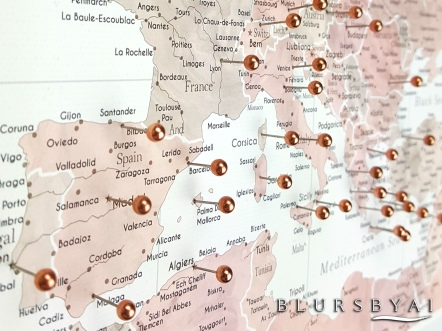 map149-064 2 blursbyai highly detailed push pin world map with rose gold push pins
