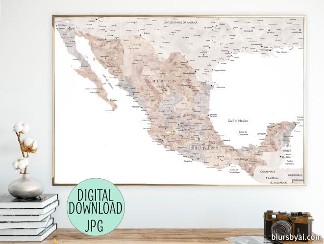 printable instant download map of mexico in neutrals by blursbyai