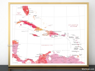 map print of the caribbean islands in hot pink watercolor