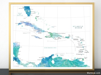 watercolor map print of the caribbean islands in blue mint aquamarine