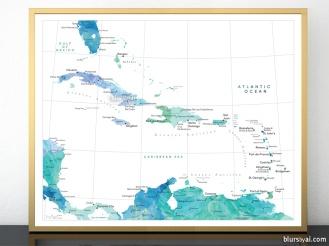 watercolor map print of the caribbean islands in blue mint aquamarine