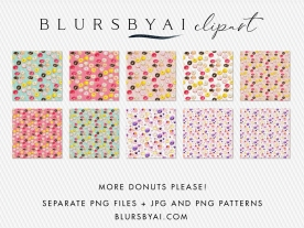 01 WATERCOLOR DONUT CLIPARTS BY BLURSBYAI