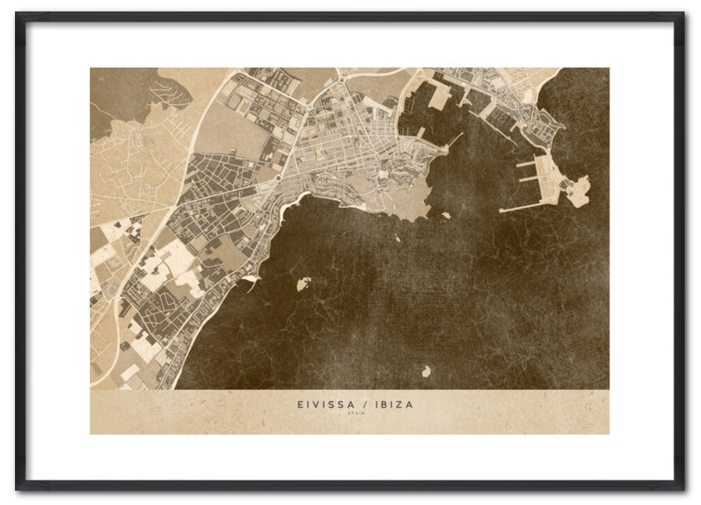 Framed Ibiza map in wood by blursbyai on Europosters/UKposters